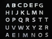Sheet of block alphabet letters A to Z Clear Rhinestone Iron on Hotfix Transfer bling DIY