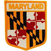 United States USA State Flag Shield Crest Novelty Iron On Patch - Maryland Applique