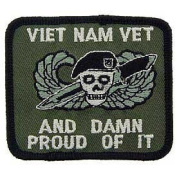 "US Military Embroidered Iron on Patch - Vietnam War Collection - ""Vet and Damn Proud of it"" Applique"