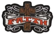 "Novelty Iron On Religious Christian Faith Patch - ""Faith"" Wooden Cross Tatto Art Christian Bible Jesus Applique"