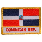 International World Countries Rectangle Flag Iron On Patch - Dominican Republic Applique
