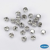 50 Pcs Swarovski Style Crystal Ringed Sew on Rhinestone Czech Glass, White with Silver Plated Brass Base 7 mm