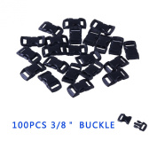 YOUGLE 100 pcs 1cm Contoured Curved Side Release Plastic Buckle for Paracord Bracelet.