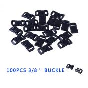 YOUGLE 100 pcs 1cm Contoured Curved Side Release Plastic Buckle for Paracord Bracelet.