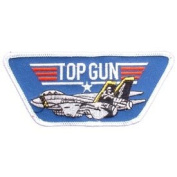 US Navy Military Embroidered Iron On Patch - Navy Collection - TOP GUN Star w/ Large Jet Applique
