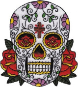 Novelty Iron on Patch - Skull Candy Skull With Cross on Forehead - Patch - Applique