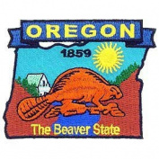 USA Novelty Embroidered Iron on Patch - 50 United States Historical Collection - 1859 Oregon The Beaver State Applique