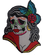6.4cm Candy Day Of Dead Sexy Lady Face Skull w/ Rose Iron On Applique Patch
