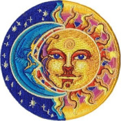 Novelty Iron On Patch - 8.3cm Sun, Moon & Stars Yin Yang Applique