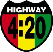 Novelty Iron On Patch - Highway 4:20 Reggae Rasta Flag Crest Weed Patch