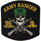 "US Military Embroidered Iron on Patch - United States Army Collection - Ranger Black Skull Face ""Mess With The Best, Die Like The Rest"" Applique"