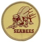 US Navy Military Embroidered Iron On Patch - Navy Collection - Seabees Desert Logo Applique