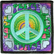 Novelty Iron On - Love Peace Sign Spiral Tye-Dye Logo Hippie Retro Patch