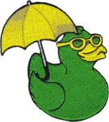 Novelty Iron on Ducks Patch - Rubber Duck Green Yellow with Umbrella Applique