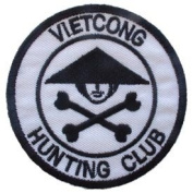 US Military Embroidered Iron on Patch - Vietnam War Collection - Viet Cong Hunting Crossbones Club Applique