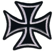 7.6cm Silver On Black Motorcycle Maltese Iron Cross Novelty Iron On Patch Applique