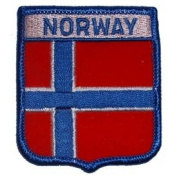 Novelty Embroidered Iron on Patch - International Flag Sheild Collection - Norway Crest Applique