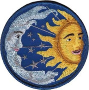 Novelty Iron On Patch - Celestial Yin Yang Sun, Moon, & Stars Applique