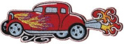 Novelty Iron On Patch - Red Hot Rod Car with Flames & Smoke Applique