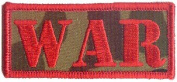 """2.5cm Red & Camoflage """"WAR"""" Name & Slogan Patch"""