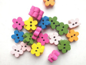 100pcs Mixed Wooden Buttons in Bulk Buttons for Crafts Little Flowers Bu-62