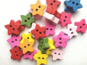 100pcs Mixed Wooden Buttons in Bulk Buttons for Crafts Little Wish Star Bu-61