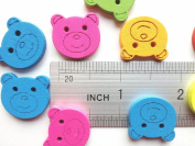100pcs Wooden Buttons in Bulk Buttons for Crafts Lovely Bear Bu-4