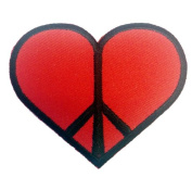 6.4cm Heart Peace Sign RED Black Logo Iron on Patch
