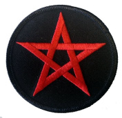 7.6cm Red Pentagram Star Novelty Iron On Patch Applique