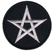 7.6cm Silver Pentagram Star Novelty Iron On Patch Applique