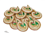 Appliqué Handmade Craft Fabric Golden Bridal Dress Patches Sewing Costume Traditional Patch 10 Pcs