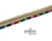 Apprael Indian Sari Border Craft Fabric Home Decor Lace Metallic Gold Weaving Work Fabric Decortaive Trim Multicolor Ribbon Hand Crafted.