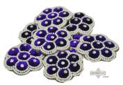 Blue Applique Floral Design Craft Indian Patches Velvet Fabric Handmade Patch