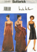 Butterick Sewing Pattern 3340 Misses' Nicole Miller Formal Dress & Stole, Size 6-8-10