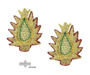Dress Appliqués Sewing Craft Fabric Indian Sari Patches Home Decor Crafted Beaded Golden Handmade Costume Royal Appliqué Decorative Leaf Design HandCrafted Traditional Patch 10 Pcs.