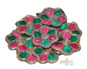 Floral Design Dress Craft Applique Indian Pink Home Decor Apparel Dress Patches 10 Pcs