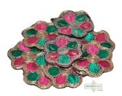 Floral Design Dress Craft Applique Indian Pink Home Decor Apparel Dress Patches 10 Pcs