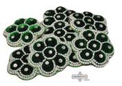 Green Craft Patch Indian Floral Design Velvet Sewing Fabric Handmade Dress Applique 2 Pcs