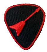 Guitar Pick w/ Flying Electric Guitar Novelty Iron On Patch Applique