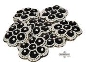 Handmade Applique Velvet Fabric Craft Patches Indian Beaded Deco Black Sari Patch