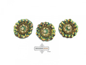 Handmade Sewing Applique Green Beaded Dress Patch Indian Craft 10 Pcs