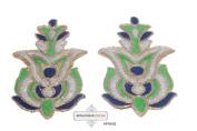 Indian Craft Applique Handmade Embroidered Art Decorative Home Décor Blue Patch 2 Pcs