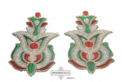 Indian Craft Beaded Sari Applique Green Thread Handmade Home Decor Art Decorative Patch 2 Pcs