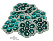 Indian Decorative Floral Design Blue Craft Applique Velvet Fabric Handmade Costume Patch 2 Pcs
