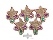 Indian Designer Handcrafted Apparel Applique Sewing Beaded Golden Patch 10 Pcs