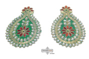 Indian Drop Applique Green Craft Art Decorative Home Decor Costume Handcrafted Patch 3 Pcs