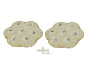 Indian White Craft Applique Velvet Fabric Handmade Floral Design Costume Patch 2 Pcs