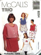 "McCall""S Sewing Pattern 8254 Maternity Nursing Tops, XS"