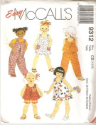 McCall's 9312 Toddler Dress, Top, Jumpsuit, Romper, Pull-on Pants & Shorts, Size CB 1, 2, 3