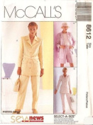 McCall's Sewing Pattern 8612 Misses' Lined or Unlined Jacket, Belt, Pants & Shorts, Size B